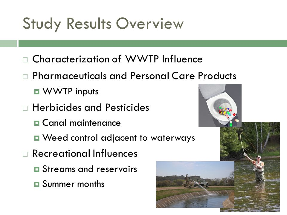 Study Results Overview  Characterization of WWTP Influence  Pharmaceuticals and Personal Care Products  WWTP inputs  Herbicides and Pesticides  C
