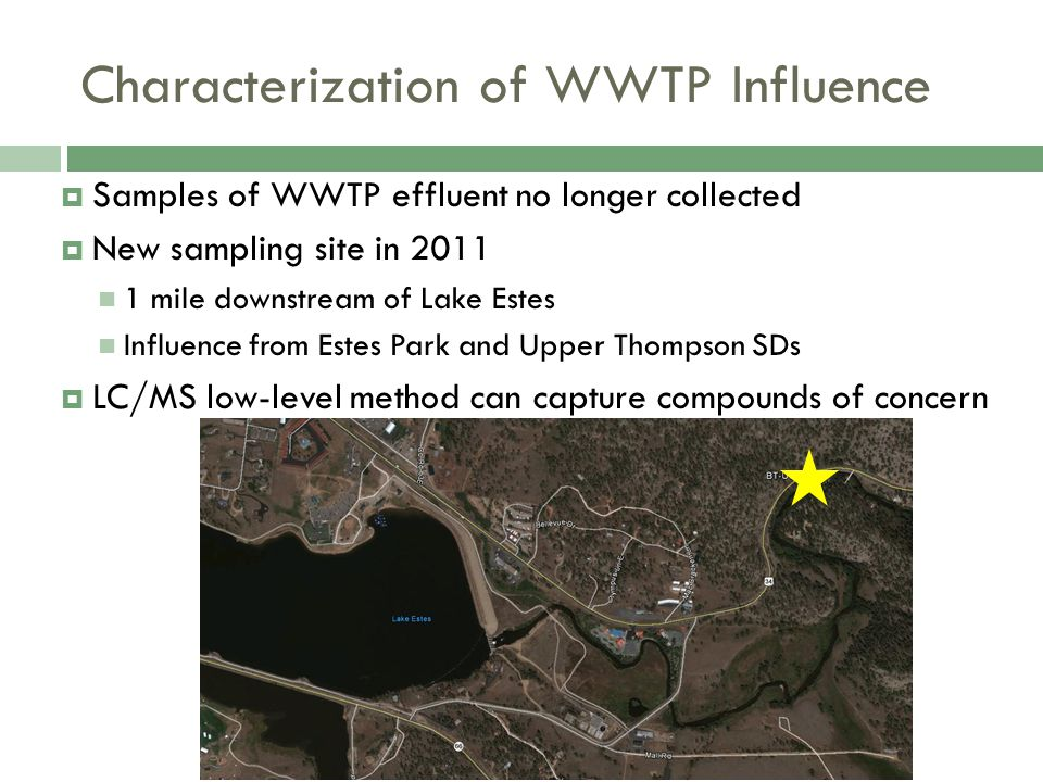 Characterization of WWTP Influence  Samples of WWTP effluent no longer collected  New sampling site in 2011 1 mile downstream of Lake Estes Influence from Estes Park and Upper Thompson SDs  LC/MS low-level method can capture compounds of concern