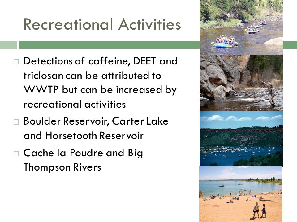 Recreational Activities  Detections of caffeine, DEET and triclosan can be attributed to WWTP but can be increased by recreational activities  Boulder Reservoir, Carter Lake and Horsetooth Reservoir  Cache la Poudre and Big Thompson Rivers