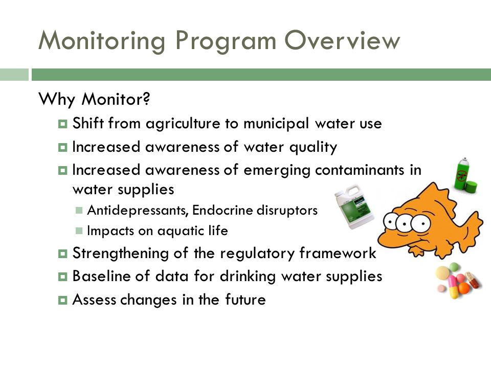Monitoring Program Overview Why Monitor?  Shift from agriculture to municipal water use  Increased awareness of water quality  Increased awareness
