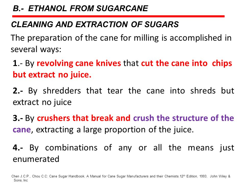 CLEANING AND EXTRACTION OF SUGARS The preparation of the cane for milling is accomplished in several ways: Chen J.C.P., Chou C.C: Cane Sugar Handbook.