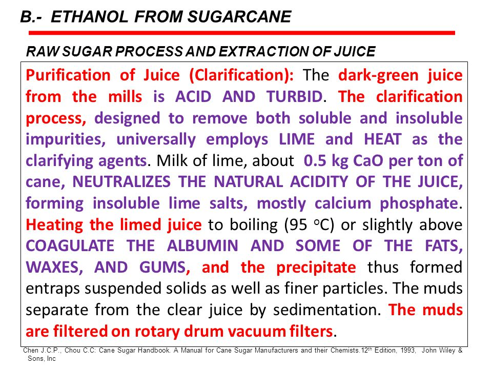 RAW SUGAR PROCESS AND EXTRACTION OF JUICE Purification of Juice (Clarification): The dark-green juice from the mills is ACID AND TURBID.
