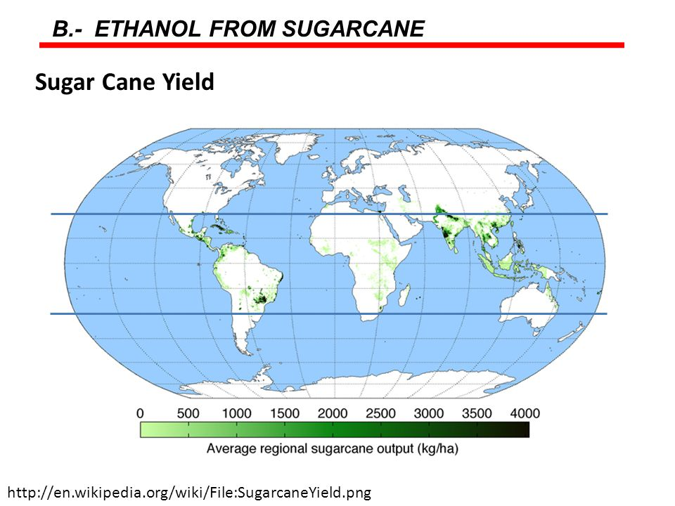 B.- ETHANOL FROM SUGARCANE http://en.wikipedia.org/wiki/File:SugarcaneYield.png Sugar Cane Yield
