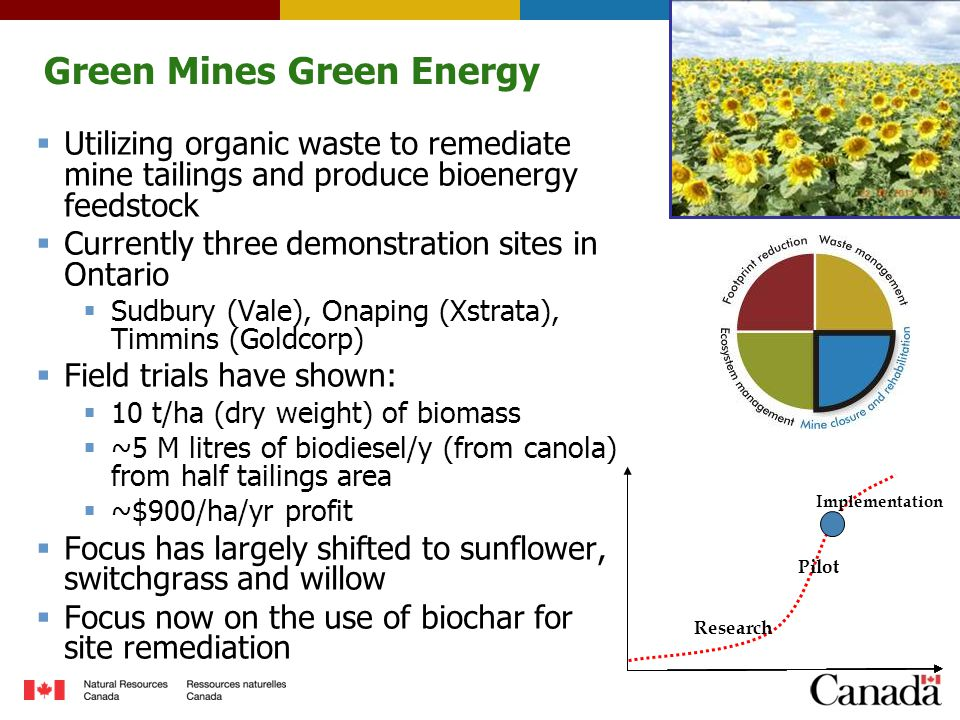 Green Mines Green Energy  Utilizing organic waste to remediate mine tailings and produce bioenergy feedstock  Currently three demonstration sites in