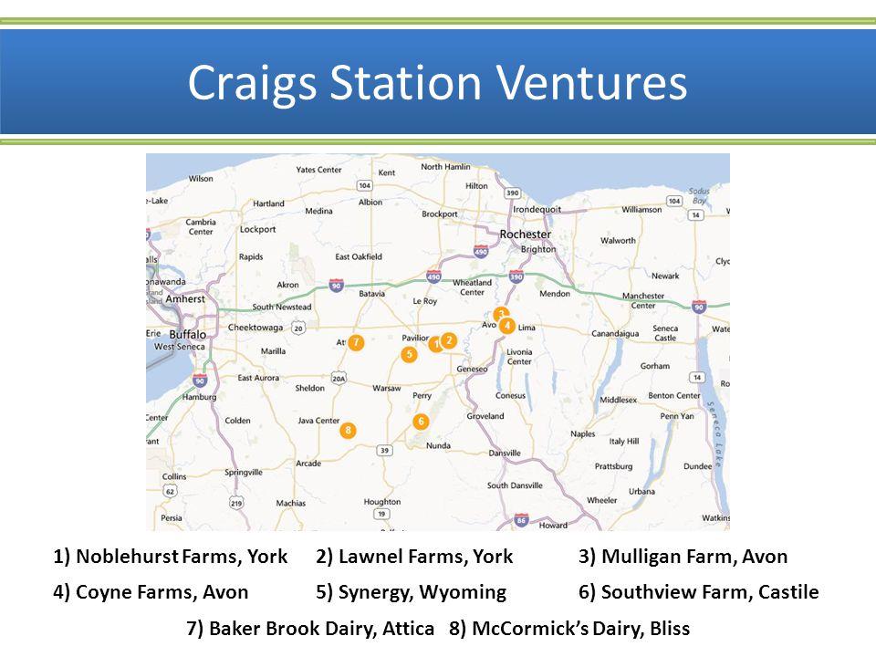 Craigs Station Ventures Lawnel Farms, York Mulligan Farm, AvonCoyne Farms, Avon Noblehurst Farms, York 1,650 cows1,500 cows; two sites 1,000 cows1,200 cows