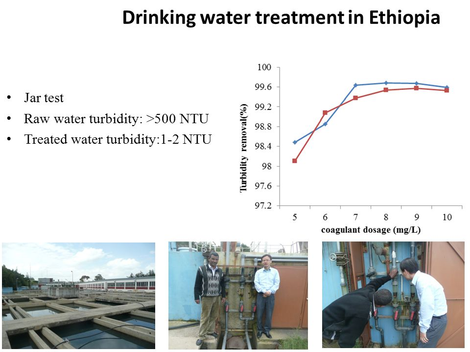 Jar test Raw water turbidity: >500 NTU Treated water turbidity:1-2 NTU Drinking water treatment in Ethiopia
