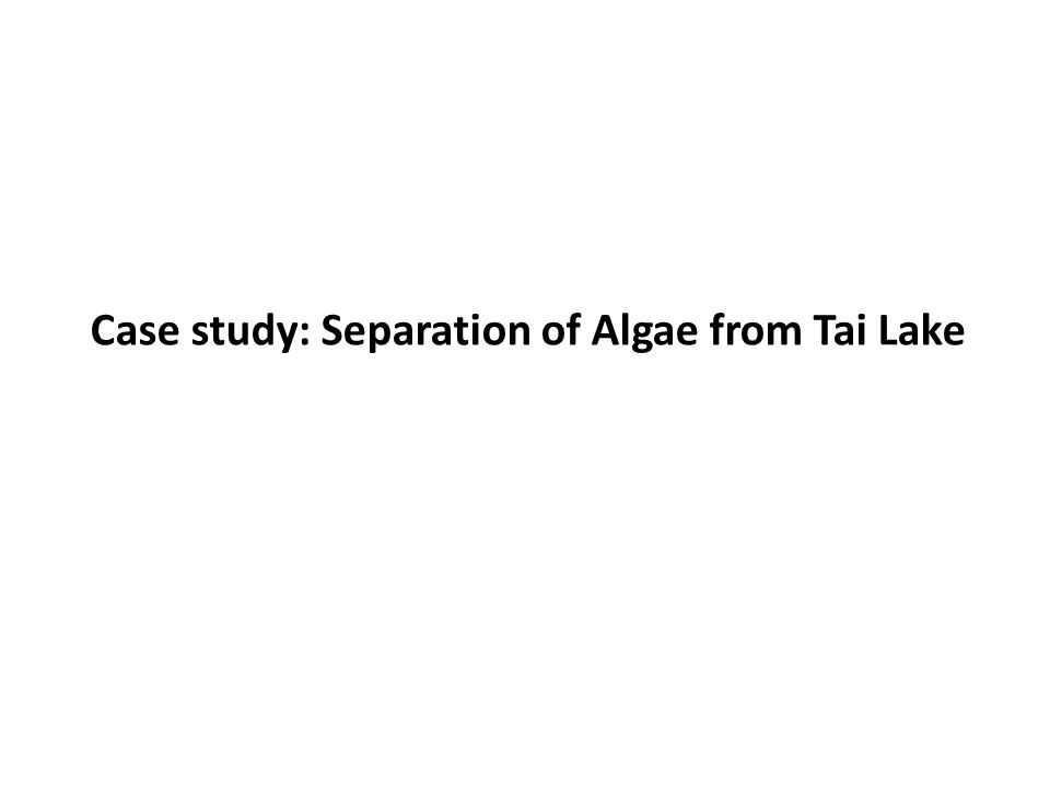 Case study: Separation of Algae from Tai Lake