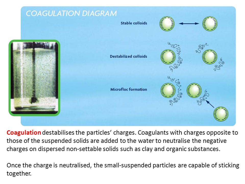 Coagulation destabilises the particles' charges.