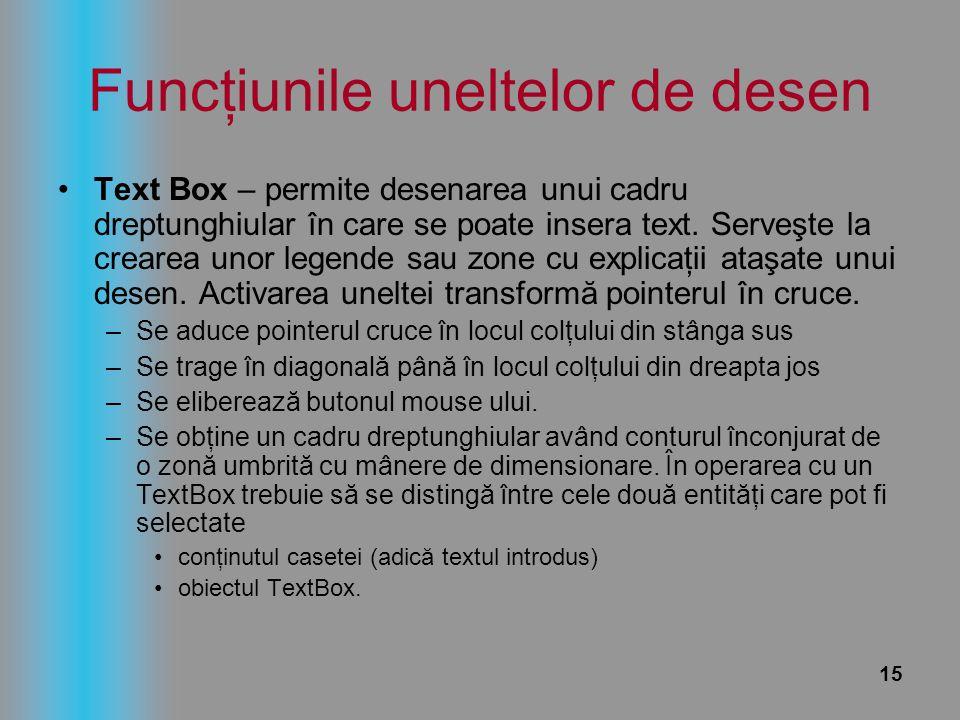 15 Funcţiunile uneltelor de desen Text Box – permite desenarea unui cadru dreptunghiular în care se poate insera text. Serveşte la crearea unor legend