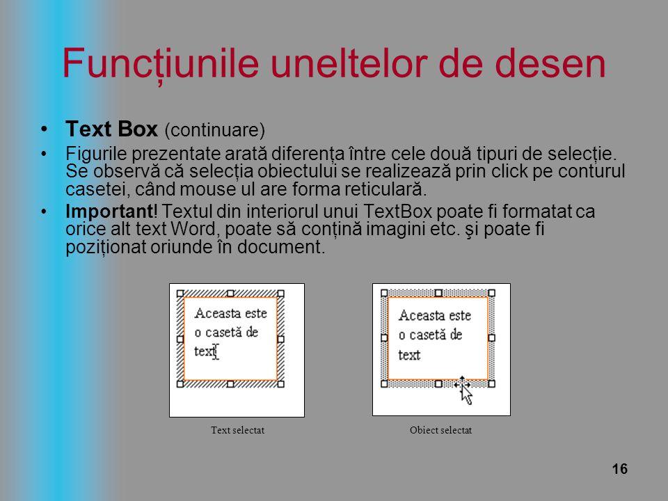 16 Funcţiunile uneltelor de desen Text Box (continuare) Figurile prezentate arată diferenţa între cele două tipuri de selecţie. Se observă că selecţia