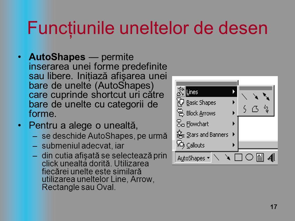 17 Funcţiunile uneltelor de desen AutoShapes — permite inserarea unei forme predefinite sau libere. Iniţiază afişarea unei bare de unelte (AutoShapes)