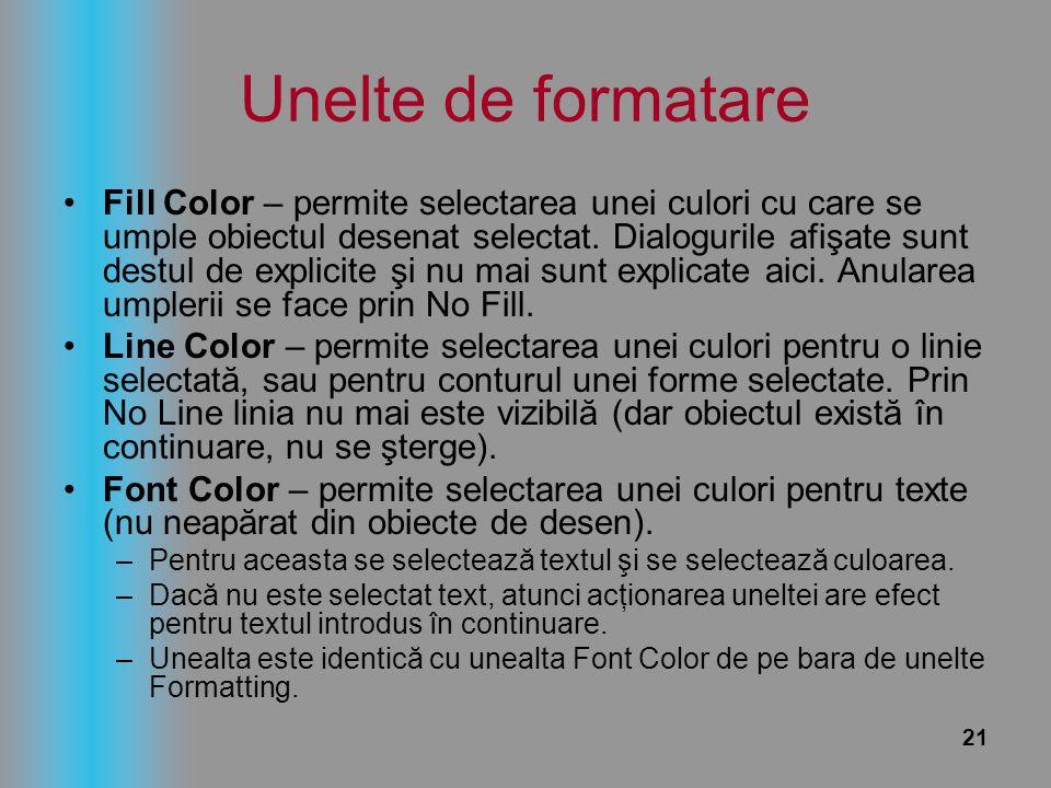 21 Unelte de formatare Fill Color – permite selectarea unei culori cu care se umple obiectul desenat selectat. Dialogurile afişate sunt destul de expl