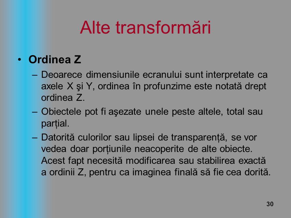 30 Alte transformări Ordinea Z –Deoarece dimensiunile ecranului sunt interpretate ca axele X şi Y, ordinea în profunzime este notată drept ordinea Z.