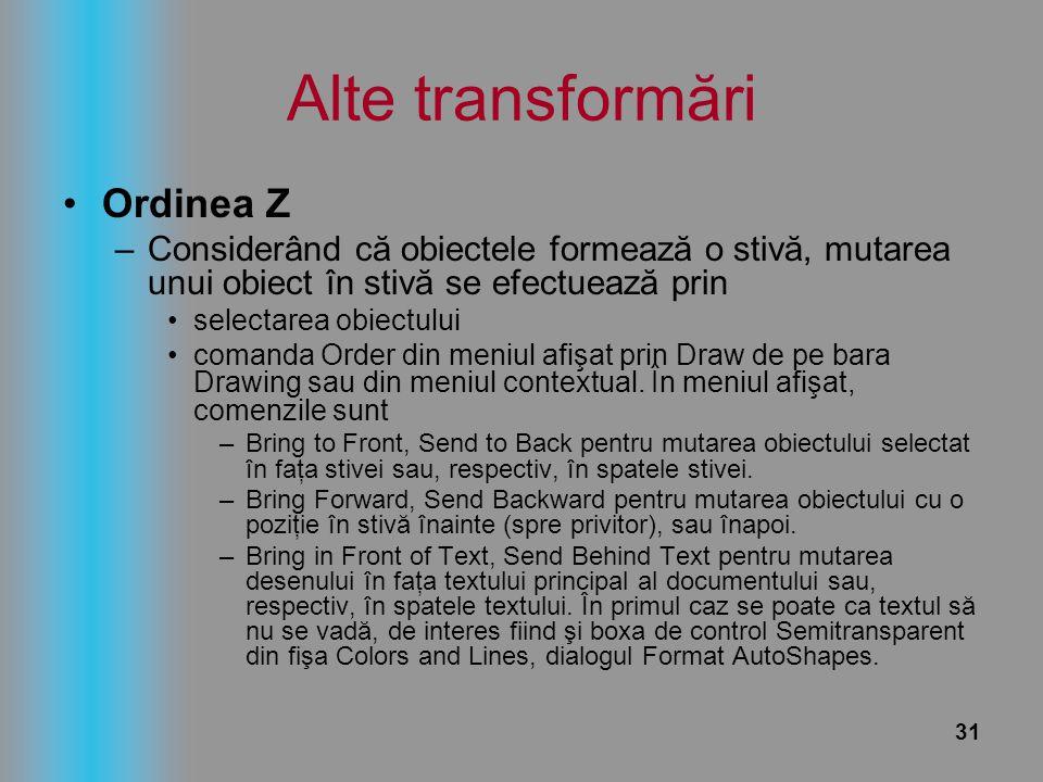 31 Alte transformări Ordinea Z –Considerând că obiectele formează o stivă, mutarea unui obiect în stivă se efectuează prin selectarea obiectului coman