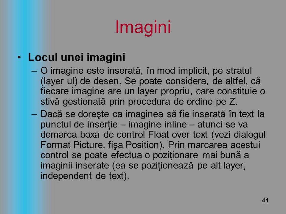 41 Imagini Locul unei imagini –O imagine este inserată, în mod implicit, pe stratul (layer ul) de desen. Se poate considera, de altfel, că fiecare ima