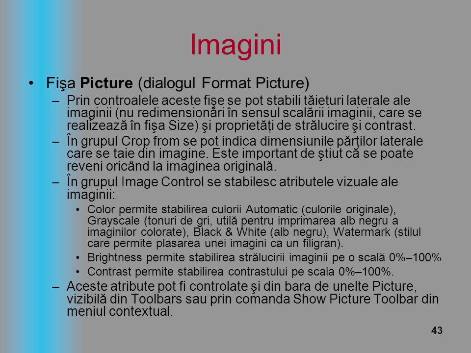 43 Imagini Fişa Picture (dialogul Format Picture) –Prin controalele aceste fişe se pot stabili tăieturi laterale ale imaginii (nu redimensionări în se