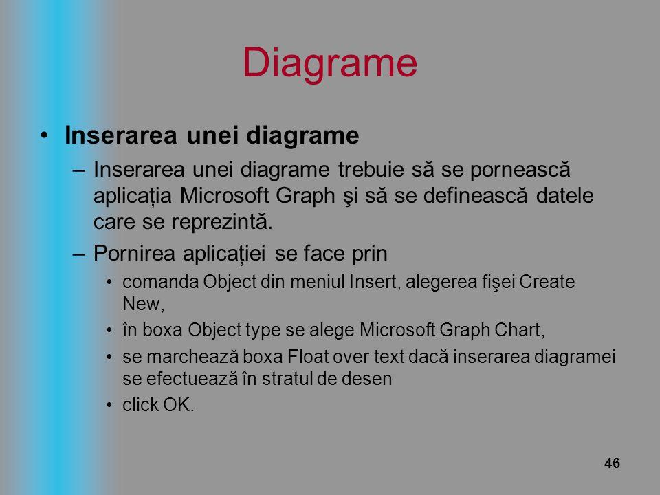 46 Diagrame Inserarea unei diagrame –Inserarea unei diagrame trebuie să se pornească aplicaţia Microsoft Graph şi să se definească datele care se repr