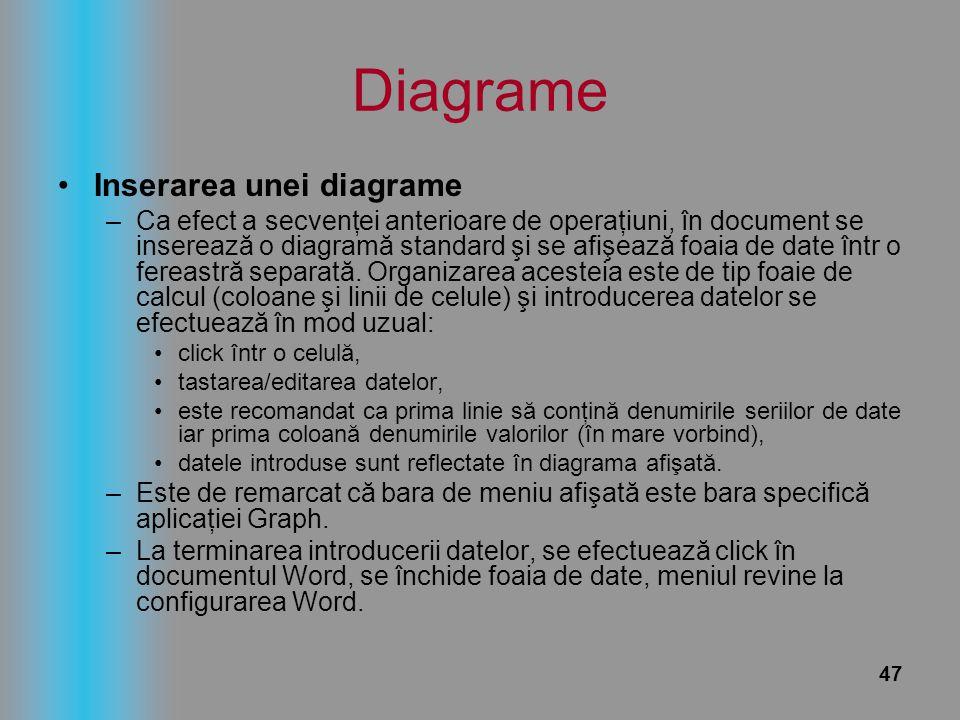 47 Diagrame Inserarea unei diagrame –Ca efect a secvenţei anterioare de operaţiuni, în document se inserează o diagramă standard şi se afişează foaia
