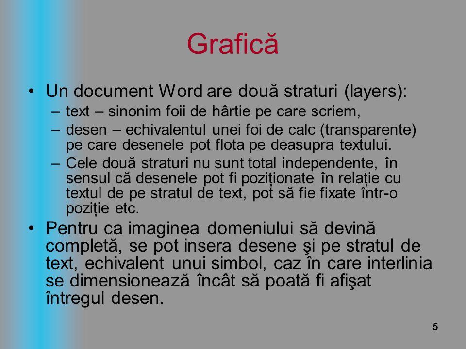 5 Grafică Un document Word are două straturi (layers): –text – sinonim foii de hârtie pe care scriem, –desen – echivalentul unei foi de calc (transpar