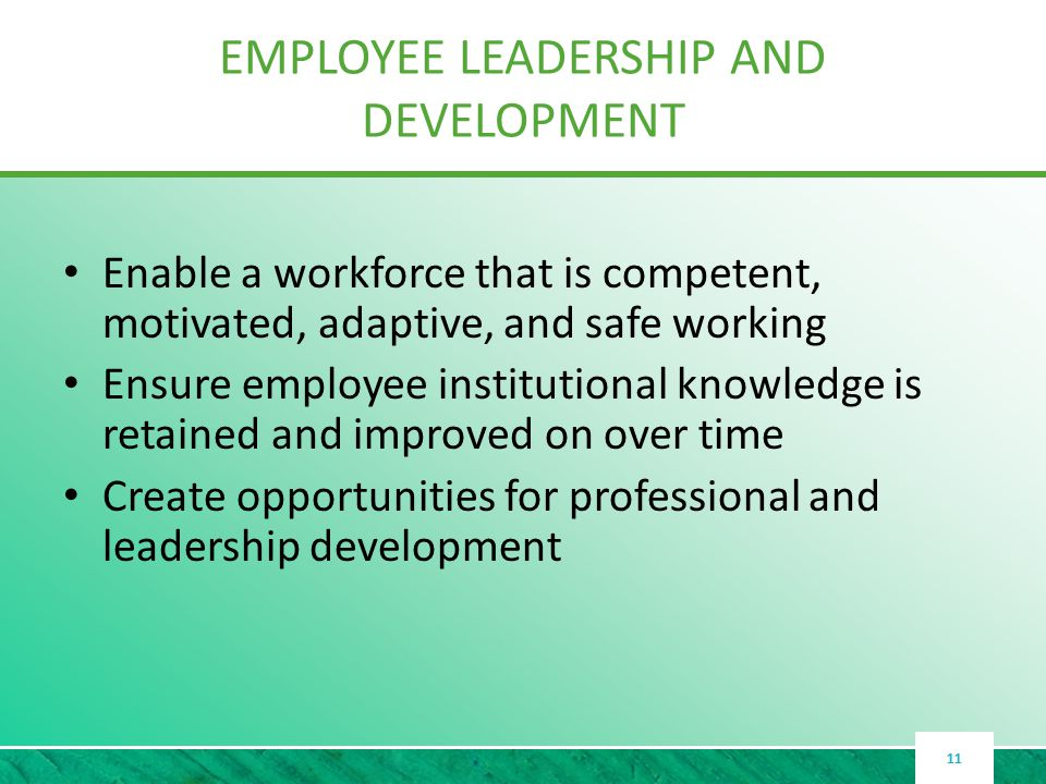 EMPLOYEE LEADERSHIP AND DEVELOPMENT Enable a workforce that is competent, motivated, adaptive, and safe working Ensure employee institutional knowledge is retained and improved on over time Create opportunities for professional and leadership development 11