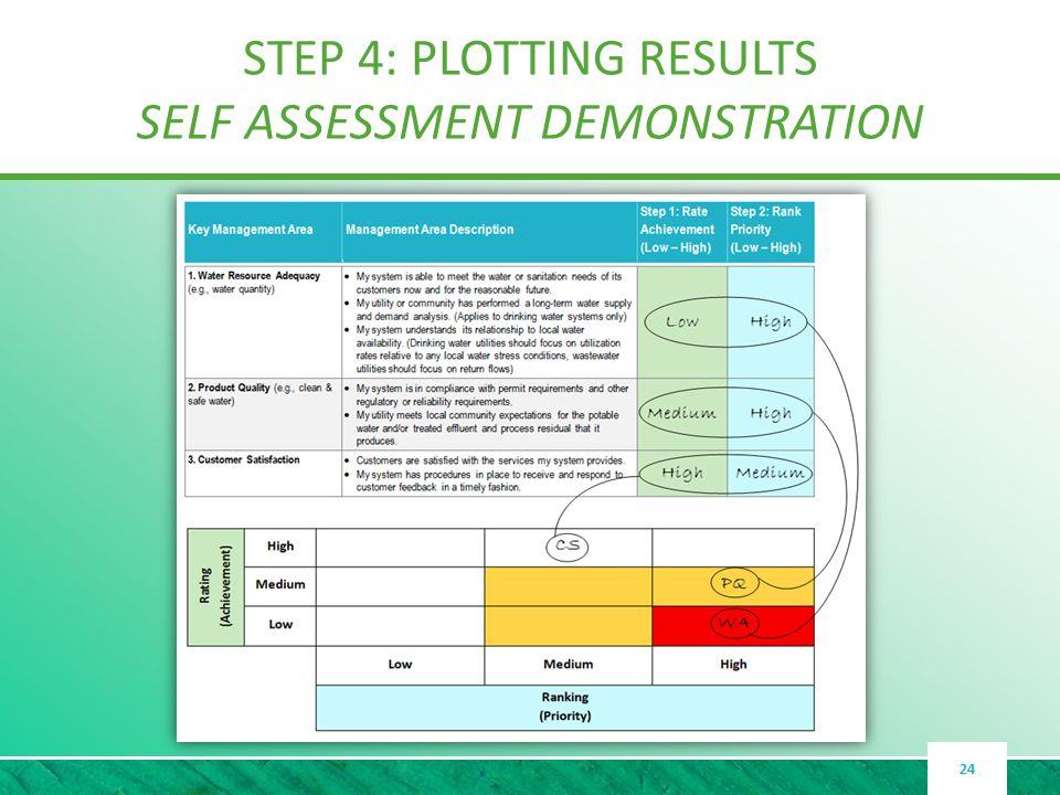 STEP 4: PLOTTING RESULTS SELF ASSESSMENT DEMONSTRATION 24