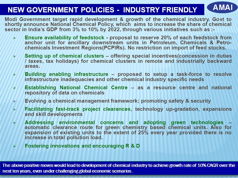 Modi Government target rapid development & growth of the chemical industry. Govt to shortly announce National Chemical Policy, which aims to increase