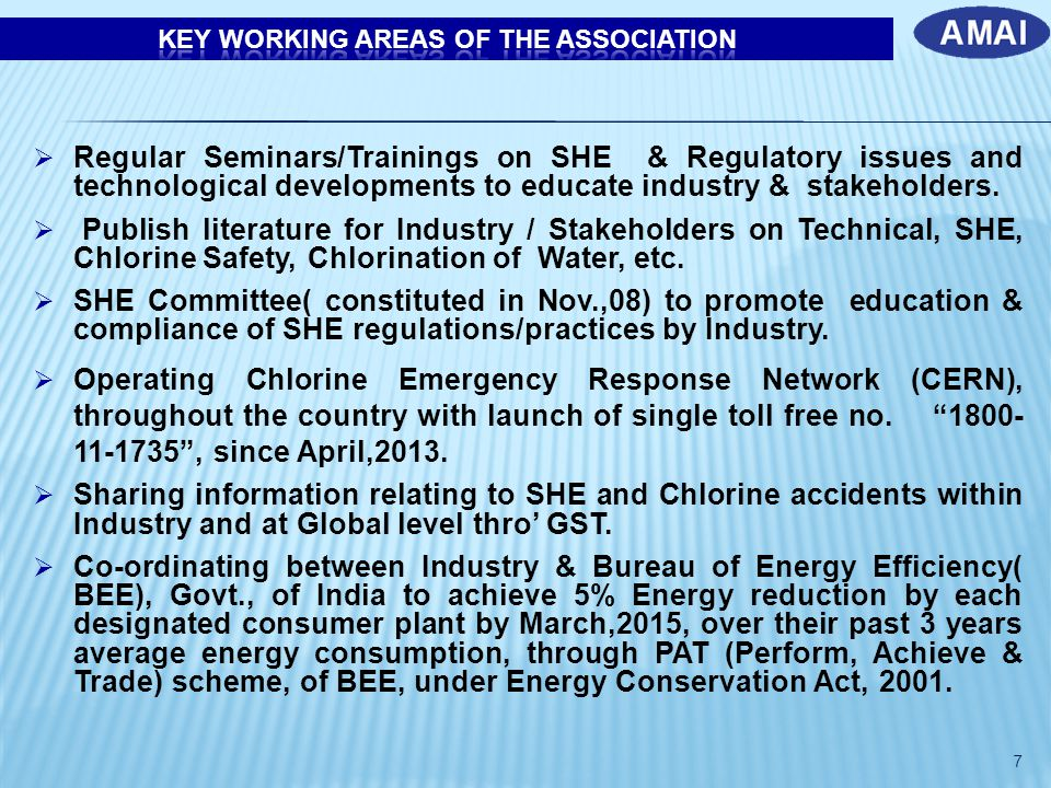  Regular Seminars/Trainings on SHE & Regulatory issues and technological developments to educate industry & stakeholders.  Publish literature for In