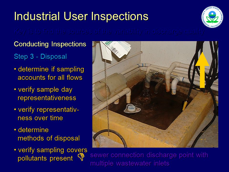 Industrial User Inspections Key is to find the sources of the variability in discharge quality Conducting Inspections Step 3 - Disposal determine if sampling determine if sampling accounts for all flows accounts for all flows verify sample day verify sample day representativeness representativeness verify representativ- verify representativ- ness over time ness over time determine determine methods of disposal methods of disposal verify sampling covers verify sampling covers pollutants present pollutants present sewer connection discharge point with multiple wastewater inlets 