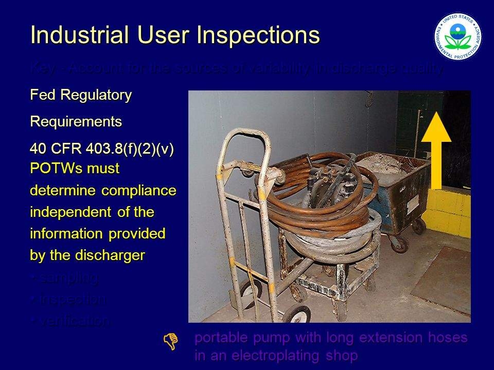 Industrial User Inspections Key - Account for the sources of variability in discharge quality Fed Regulatory Requirements 40 CFR 403.8(f)(2)(v) POTWs must determine compliance independent of the information provided by the discharger sampling sampling inspection inspection verification verification portable pump with long extension hoses in an electroplating shop 