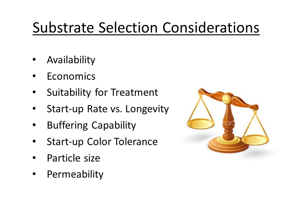 Substrate Selection Considerations Availability Economics Suitability for Treatment Start-up Rate vs.