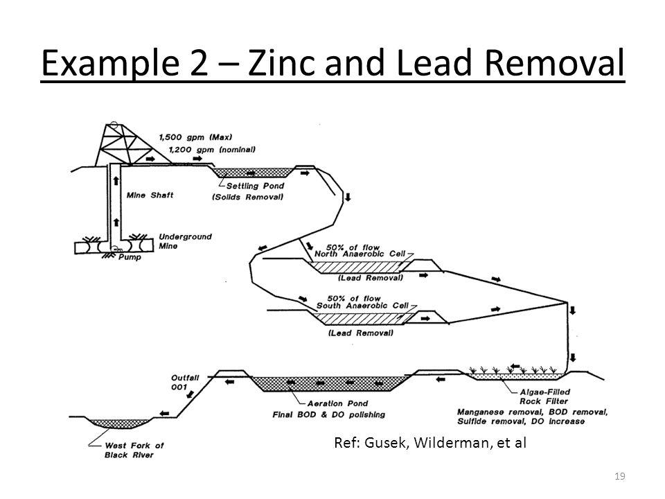 Example 2 – Zinc and Lead Removal 19 Ref: Gusek, Wilderman, et al