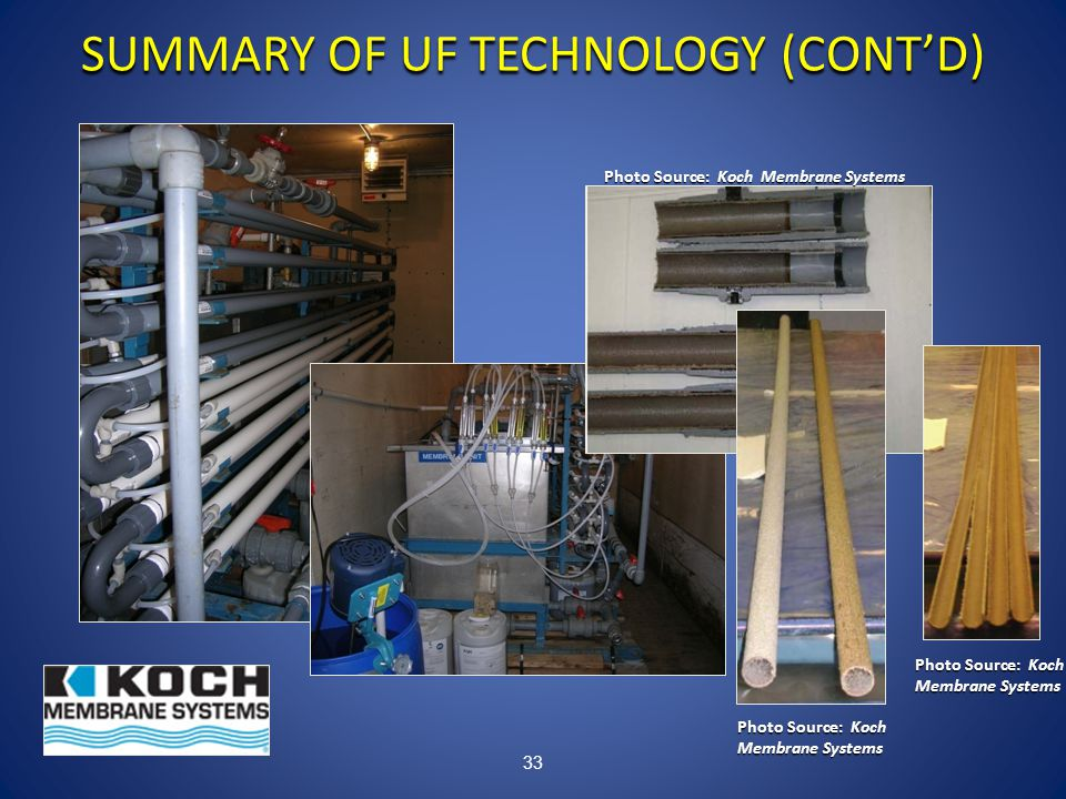 33 SUMMARY OF UF TECHNOLOGY (CONT'D) Photo Source: Koch Membrane Systems