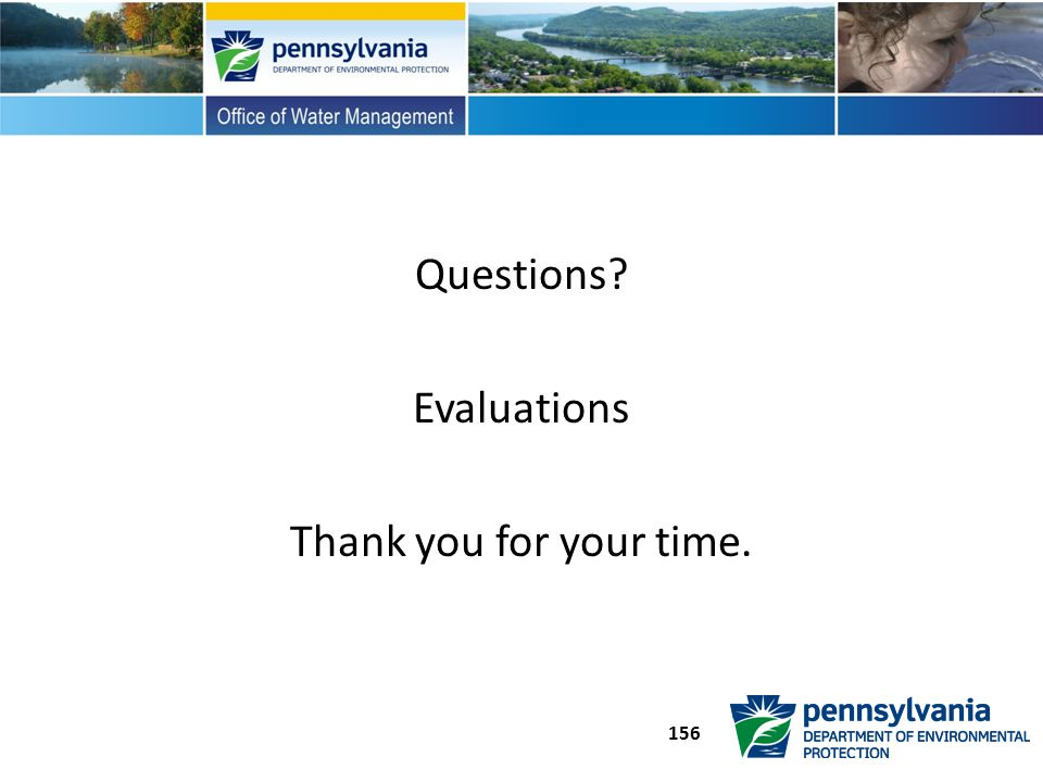 Questions? Evaluations Thank you for your time. 156