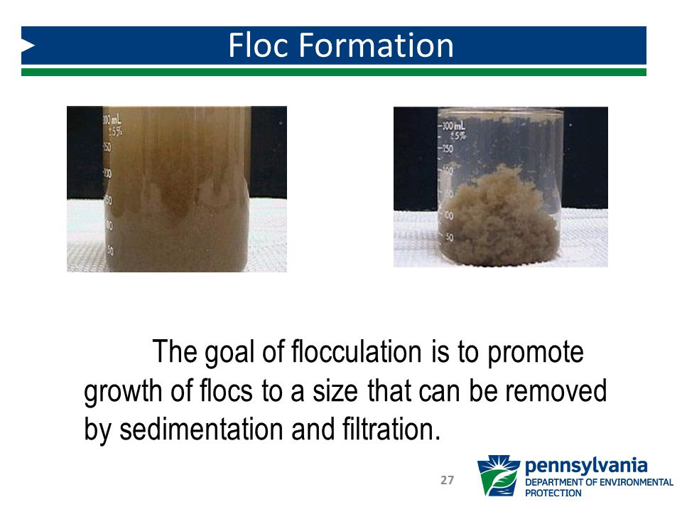 Floc Formation 27 The goal of flocculation is to promote growth of flocs to a size that can be removed by sedimentation and filtration.