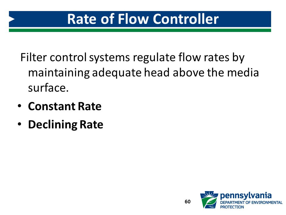 Filter control systems regulate flow rates by maintaining adequate head above the media surface. Constant Rate Declining Rate Rate of Flow Controller