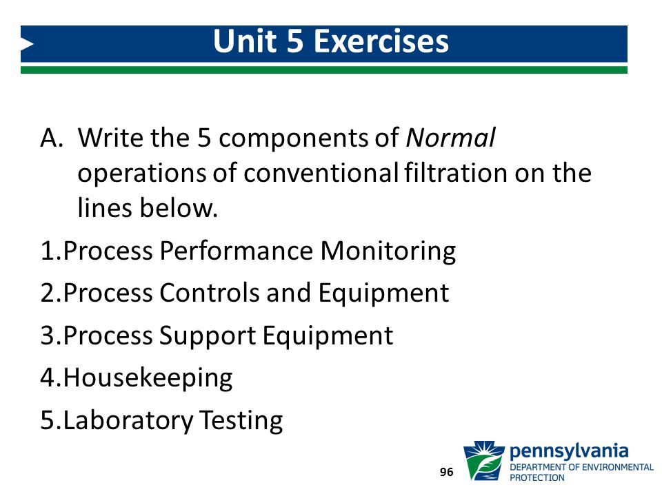 96 Unit 5 Exercises A.Write the 5 components of Normal operations of conventional filtration on the lines below. 1.Process Performance Monitoring 2.Pr
