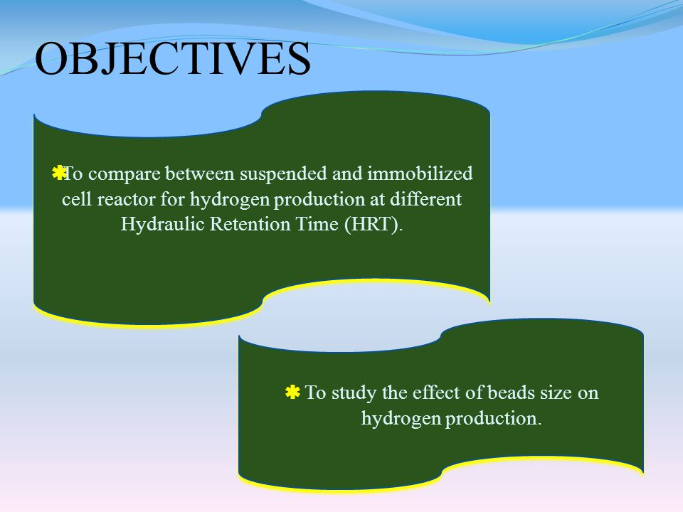 OBJECTIVES  To compare between suspended and immobilized cell reactor for hydrogen production at different Hydraulic Retention Time (HRT).