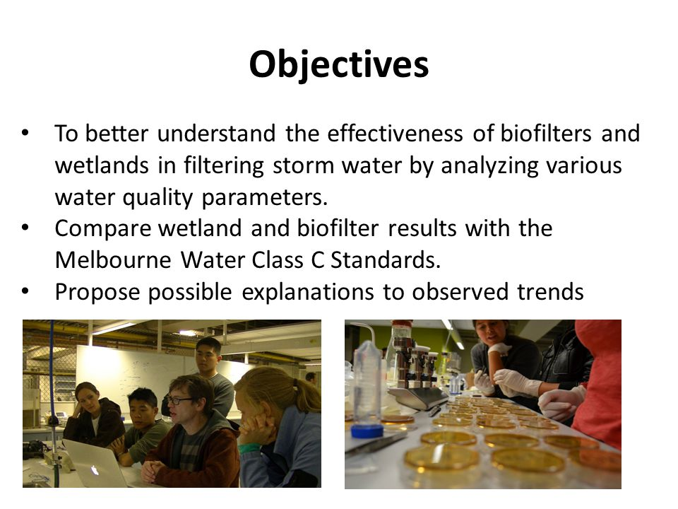 Objectives To better understand the effectiveness of biofilters and wetlands in filtering storm water by analyzing various water quality parameters.
