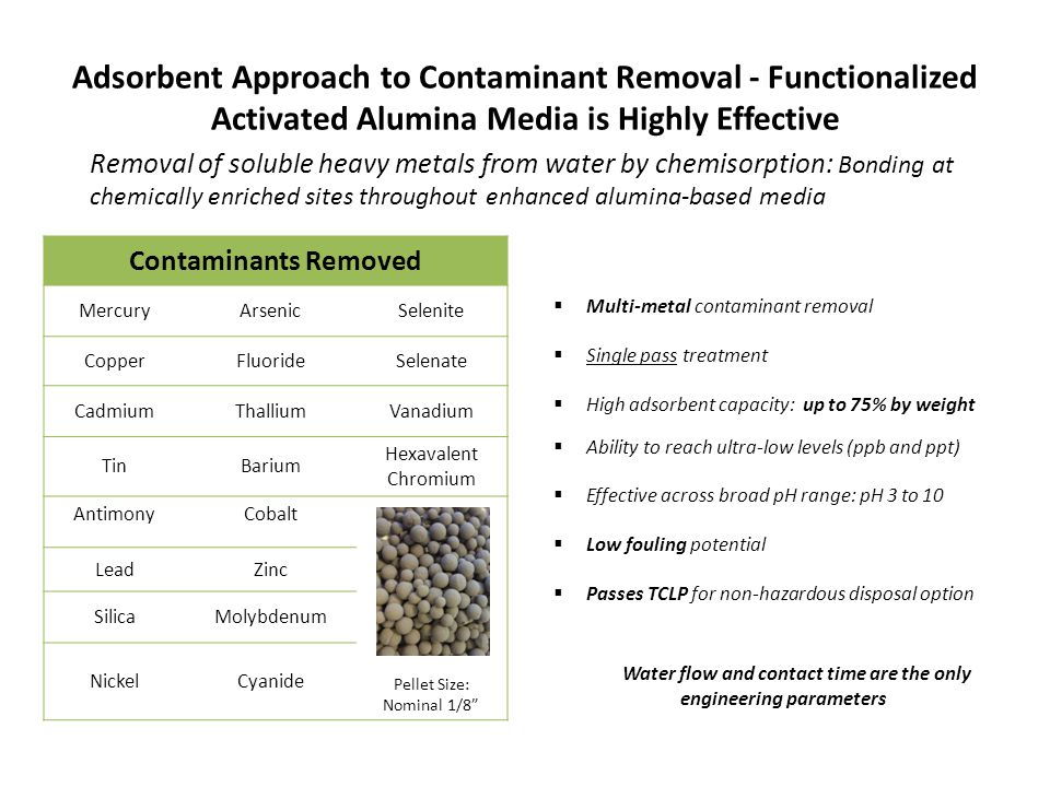 Adsorbent Approach to Contaminant Removal - Functionalized Activated Alumina Media is Highly Effective  Multi-metal contaminant removal  Single pass treatment  High adsorbent capacity: up to 75% by weight  Ability to reach ultra-low levels (ppb and ppt)  Effective across broad pH range: pH 3 to 10  Low fouling potential  Passes TCLP for non-hazardous disposal option Water flow and contact time are the only engineering parameters Contaminants Removed MercuryArsenicSelenite CopperFluorideSelenate CadmiumThalliumVanadium TinBarium Hexavalent Chromium AntimonyCobalt Pellet Size: Nominal 1/8 LeadZinc SilicaMolybdenum NickelCyanide Removal of soluble heavy metals from water by chemisorption: Bonding at chemically enriched sites throughout enhanced alumina-based media