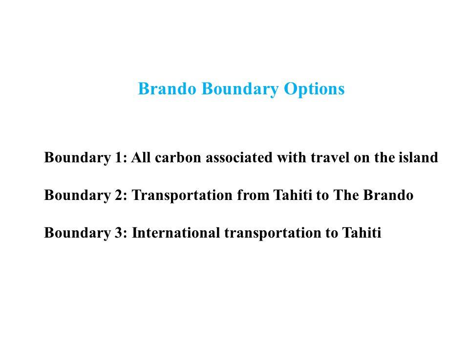 Brando Boundary Options Boundary 1: All carbon associated with travel on the island Boundary 2: Transportation from Tahiti to The Brando Boundary 3: International transportation to Tahiti