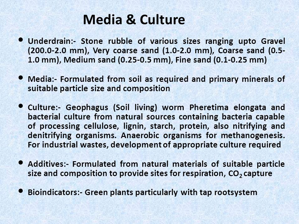 Media & Culture Underdrain:- Stone rubble of various sizes ranging upto Gravel (200.0-2.0 mm), Very coarse sand (1.0-2.0 mm), Coarse sand (0.5- 1.0 mm), Medium sand (0.25-0.5 mm), Fine sand (0.1-0.25 mm) Media:- Formulated from soil as required and primary minerals of suitable particle size and composition Culture:- Geophagus (Soil living) worm Pheretima elongata and bacterial culture from natural sources containing bacteria capable of processing cellulose, lignin, starch, protein, also nitrifying and denitrifying organisms.