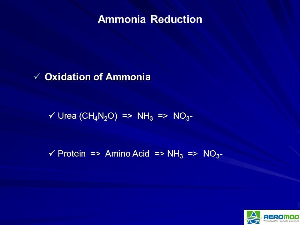 Oxidation of Ammonia Oxidation of Ammonia Urea (CH 4 N 2 O) => NH 3 => NO 3 - Urea (CH 4 N 2 O) => NH 3 => NO 3 - Protein => Amino Acid => NH 3 => NO