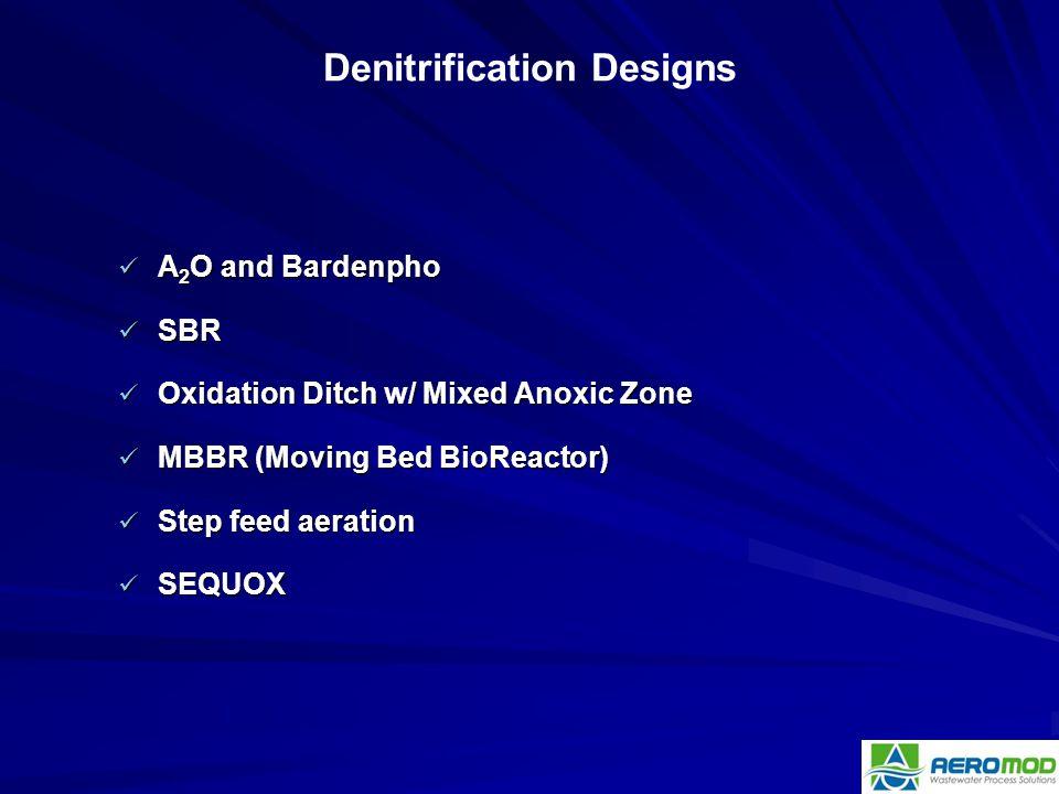 A 2 O and Bardenpho A 2 O and Bardenpho SBR SBR Oxidation Ditch w/ Mixed Anoxic Zone Oxidation Ditch w/ Mixed Anoxic Zone MBBR (Moving Bed BioReactor)
