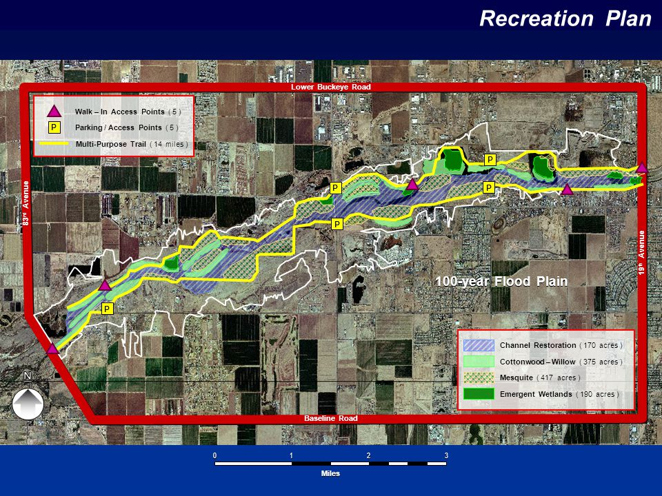 Recreation Plan Baseline Road Lower Buckeye Road 83 rd Avenue 19 th Avenue 100-year Flood Plain 1 1 2 2 3 3 0 0 Miles P P P P P Channel Restoration (