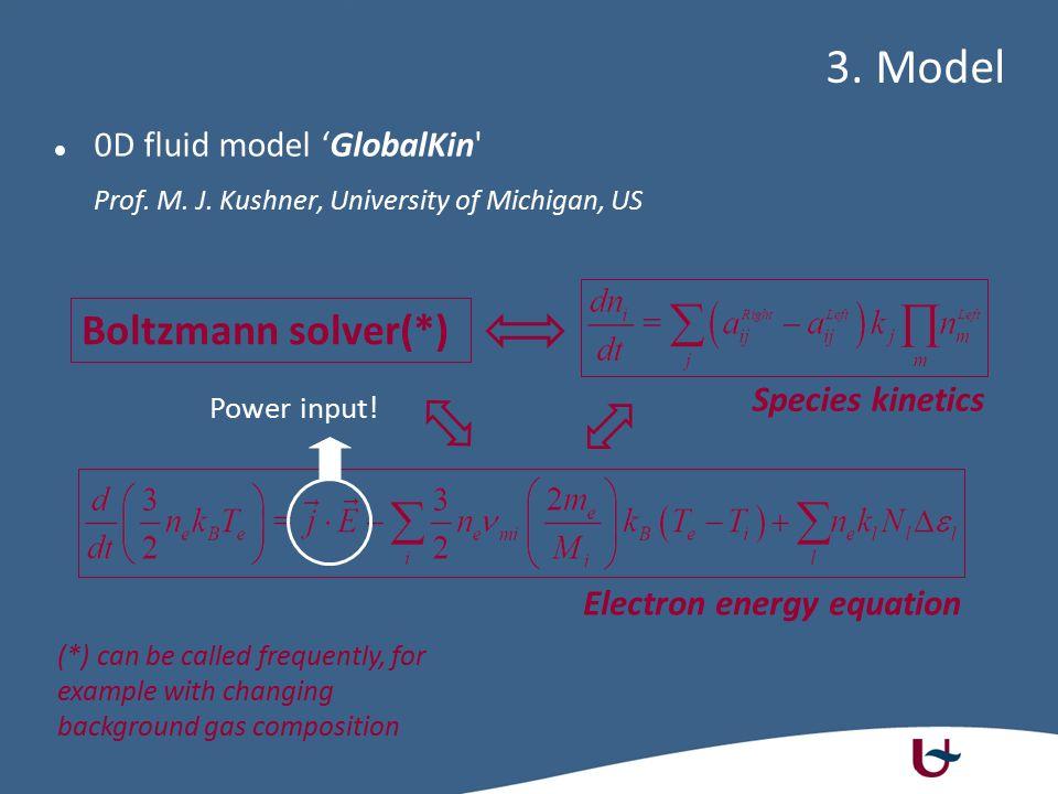 0D fluid model 'GlobalKin' Prof. M. J. Kushner, University of Michigan, US 3. Model Species kinetics Boltzmann solver(*) Electron energy equation (*)