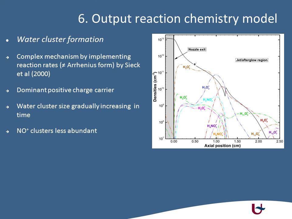 6. Output reaction chemistry model Water cluster formation  Complex mechanism by implementing reaction rates (≠ Arrhenius form) by Sieck et al (2000)