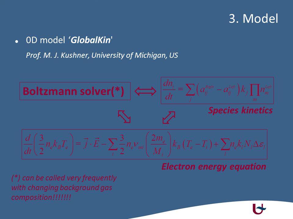 0D model 'GlobalKin' Prof. M. J. Kushner, University of Michigan, US 3. Model Species kinetics Boltzmann solver(*) Electron energy equation (*) can be