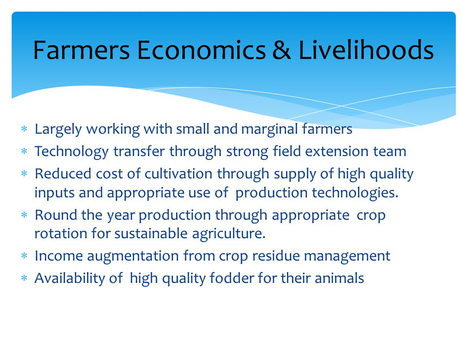  Largely working with small and marginal farmers  Technology transfer through strong field extension team  Reduced cost of cultivation through supply of high quality inputs and appropriate use of production technologies.