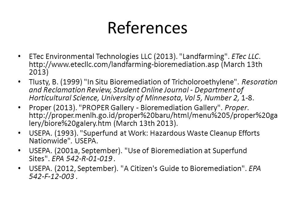 References ETec Environmental Technologies LLC (2013).