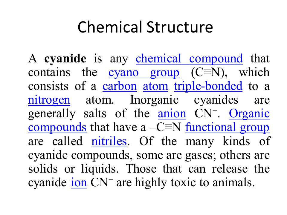 INORGANIC FORMS Two basic forms Simple Cyanides represented by the formula: A(CN) X where A is an alkali (sodium, potassium, ammonium) and X is the valence of A.